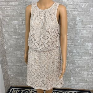 London Times Nude Crochet Dress Size 8